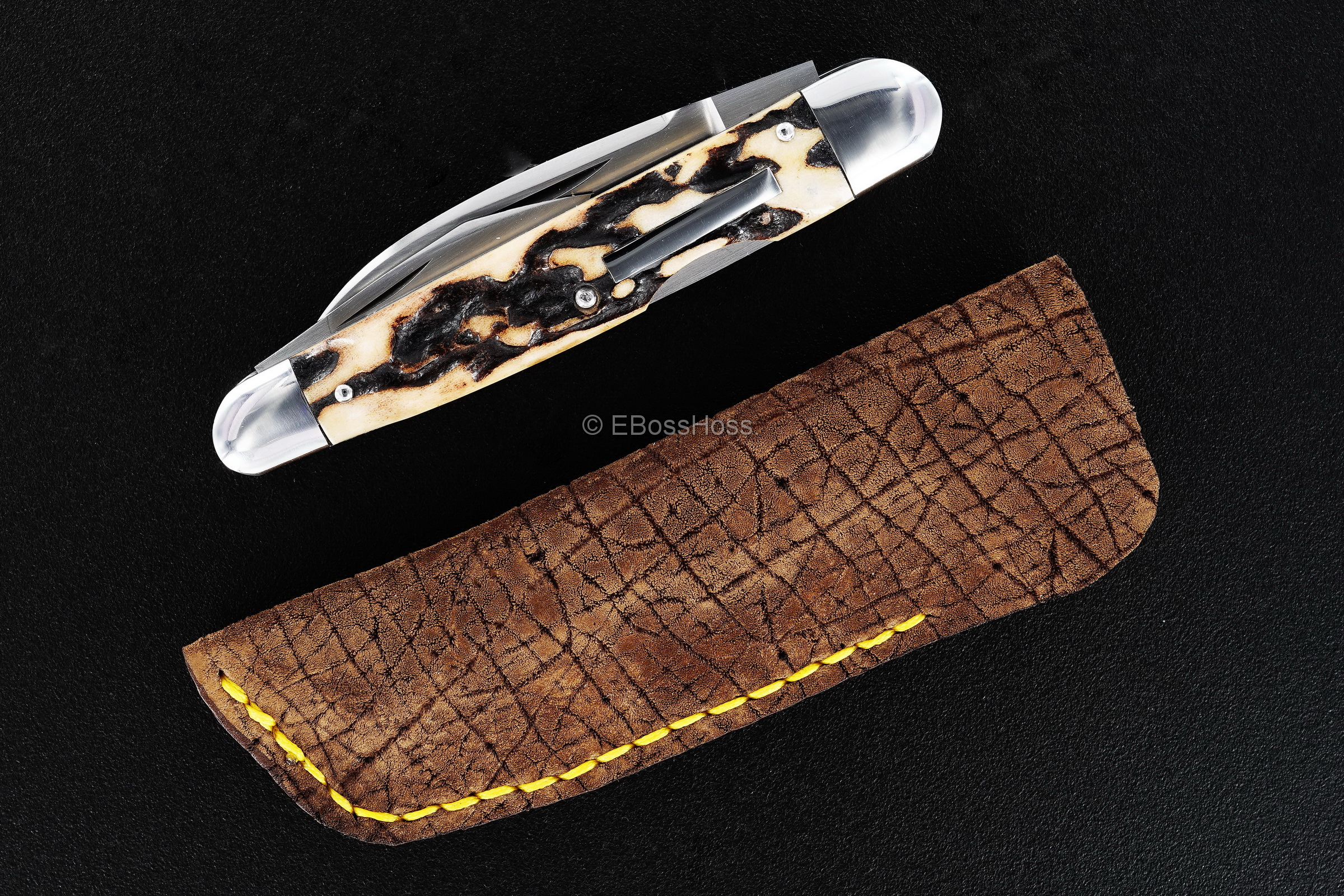 Dr T Knives / David Taber Custom Stag Lockback Whittler
