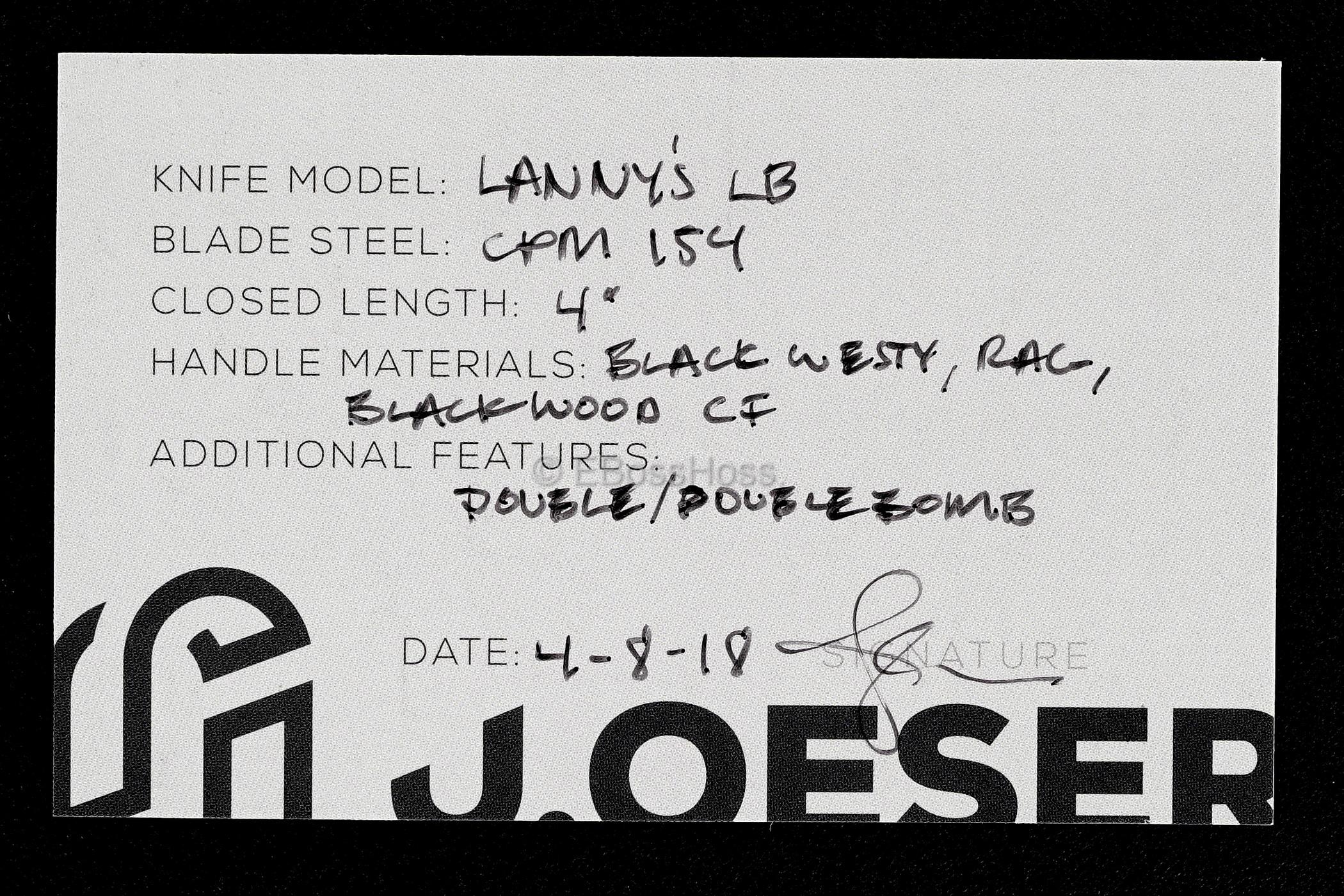 Jared Oeser Custom Lannys Lockback Knife