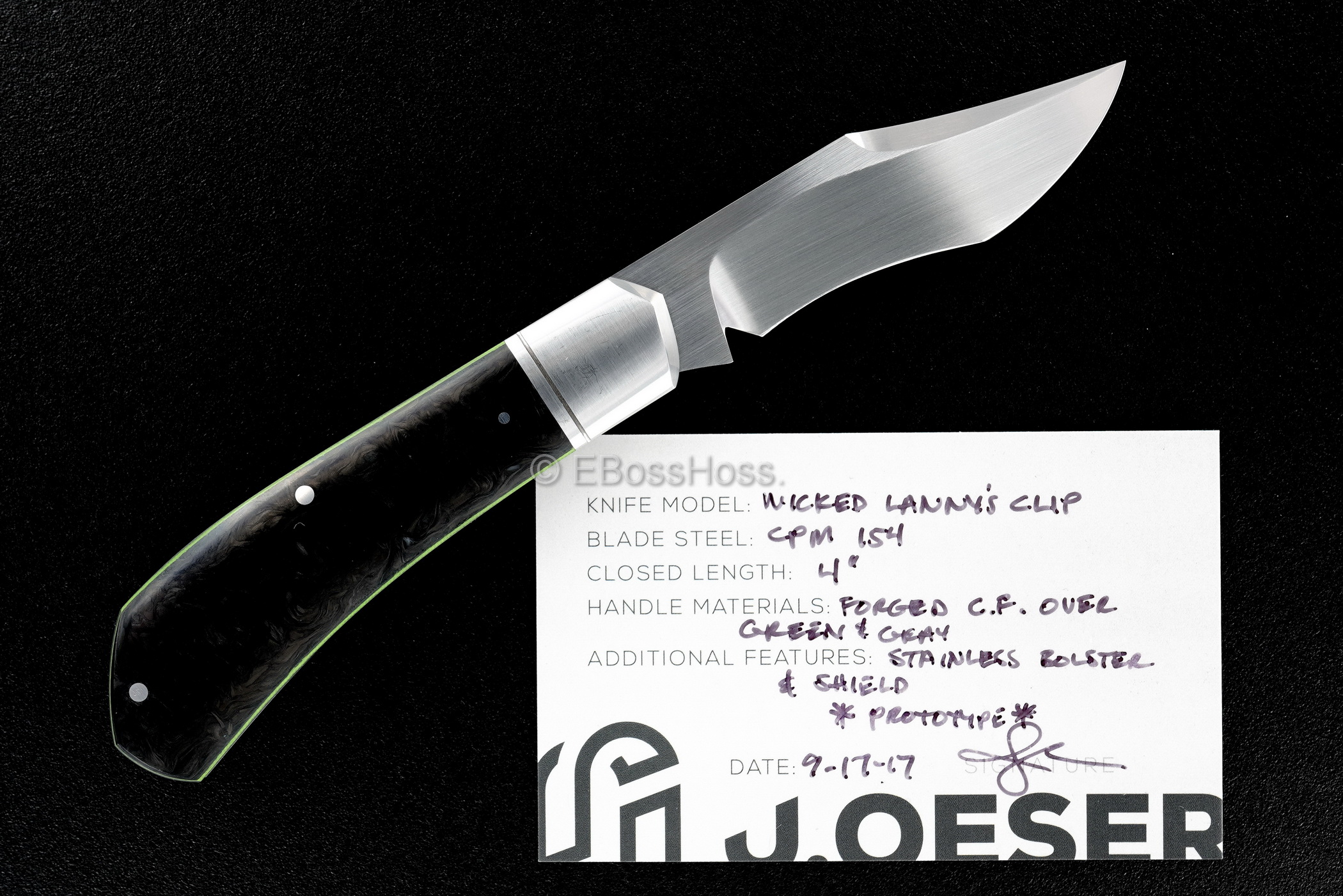 Jared Oeser Custom Wicked Lanny's Clip Knife PROTOTYPE