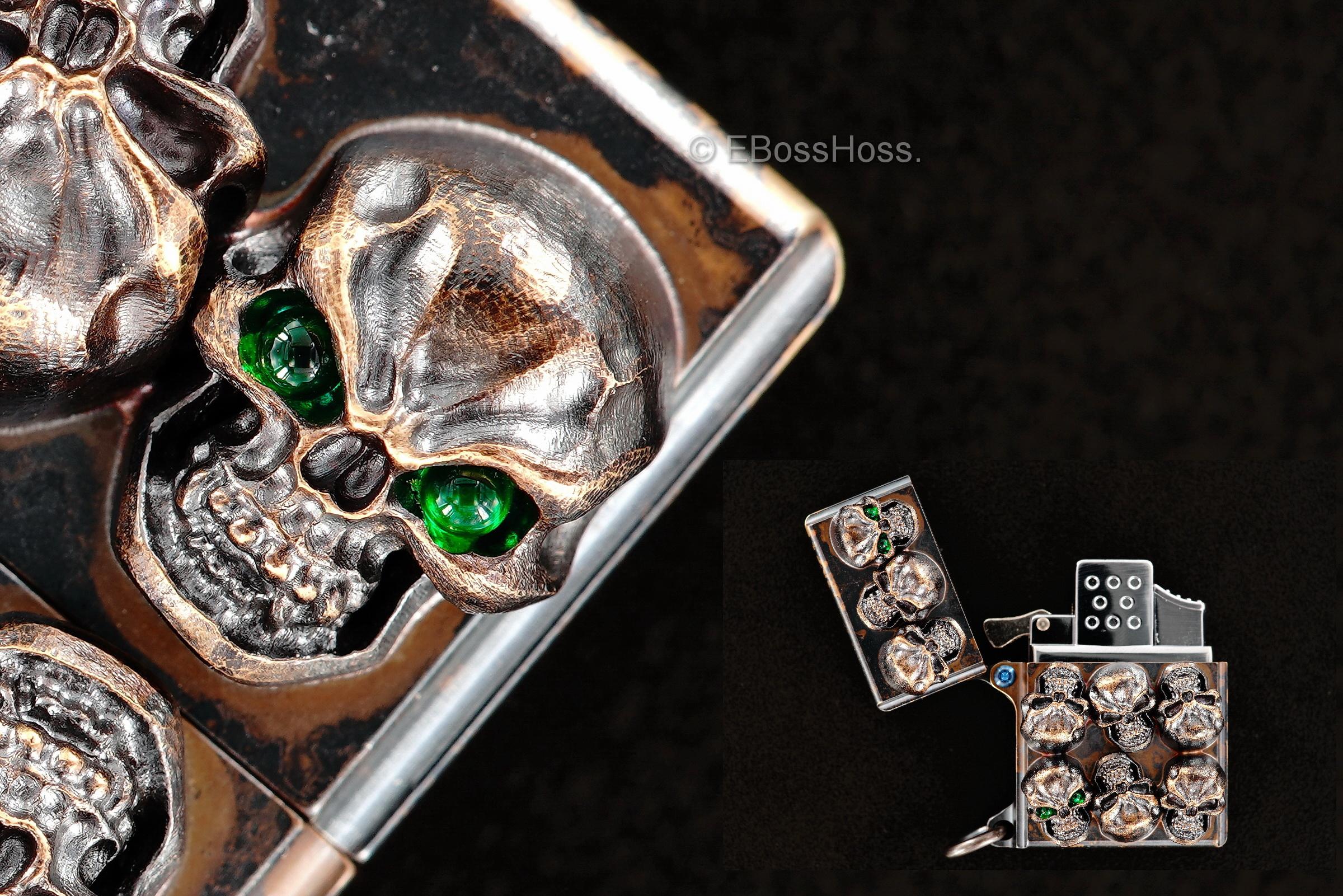 Steel Flame Custom Sledge Lighter - ONE - with Vigilant Hardness Skulls -- by Derrick Obatake