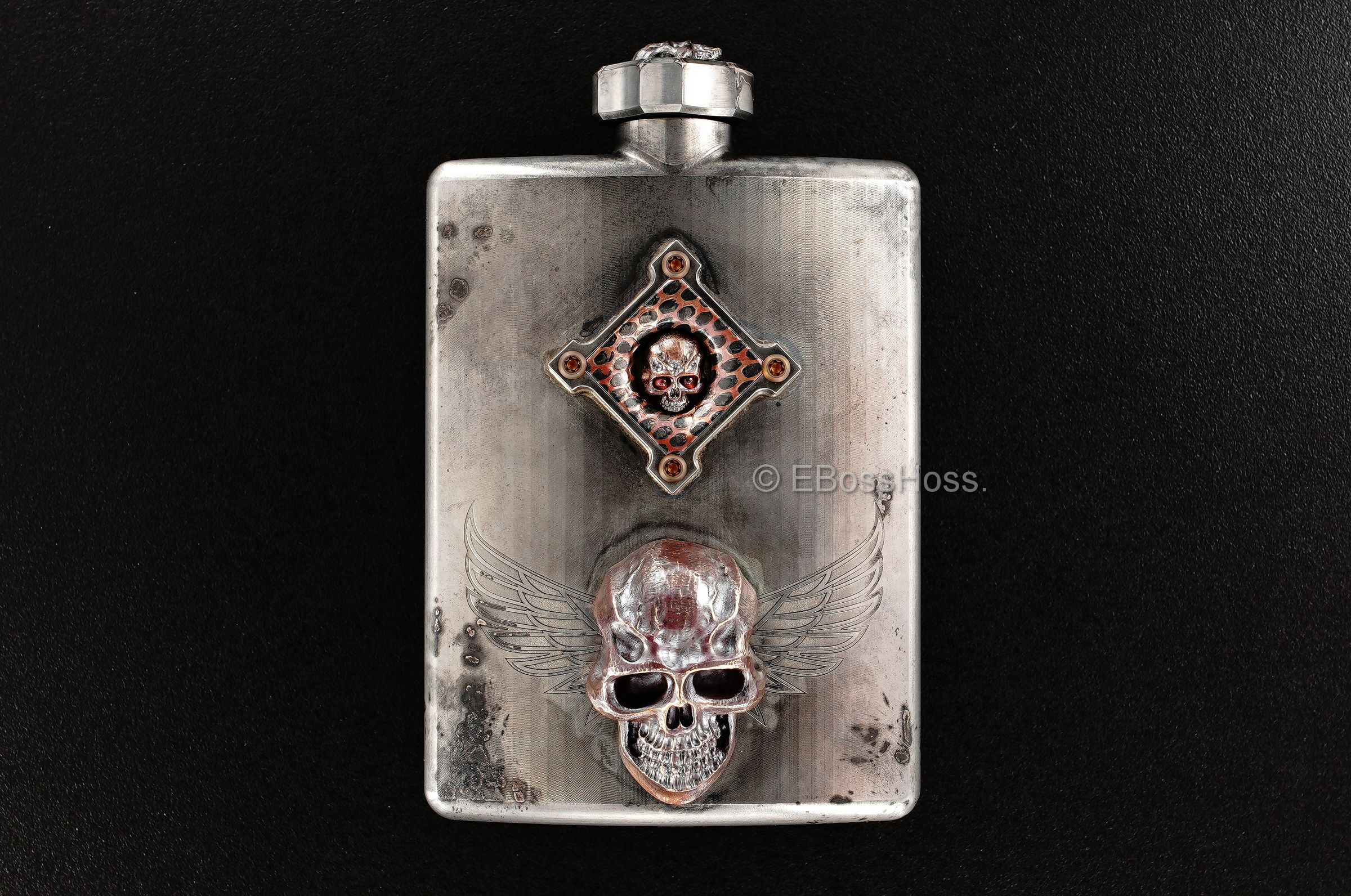 Steel Flame Custom Deluxe Sledge Flask with Dip Stick