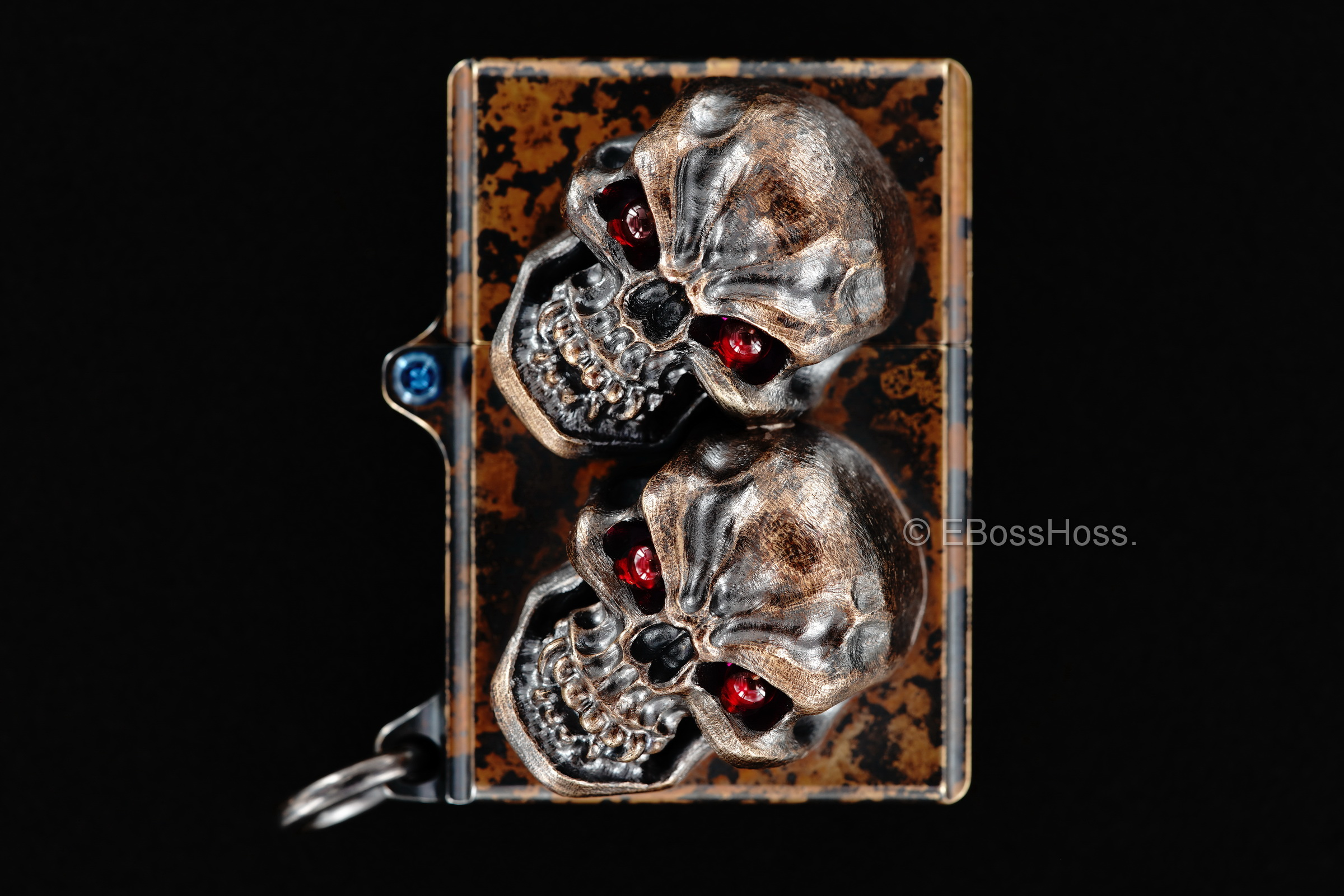 Steel Flame Custom Sledge Lighter - ONE - with XL Hardness Vigilant Skulls -- by Derrick Obatake