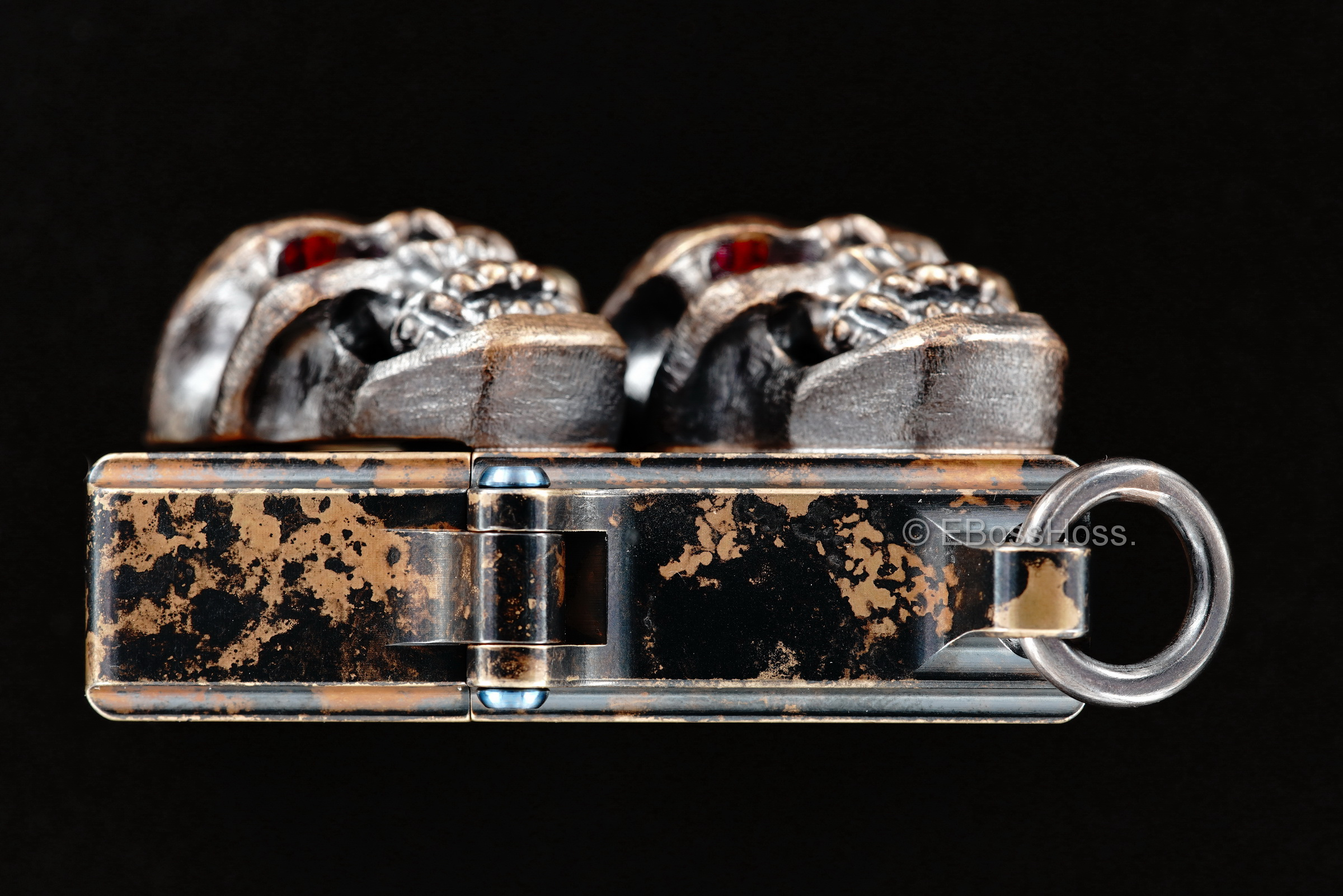 Steel Flame Custom Sledge Lighter - ONE - with XL Hardness Vigilant Skulls -- by Derrick Obatake