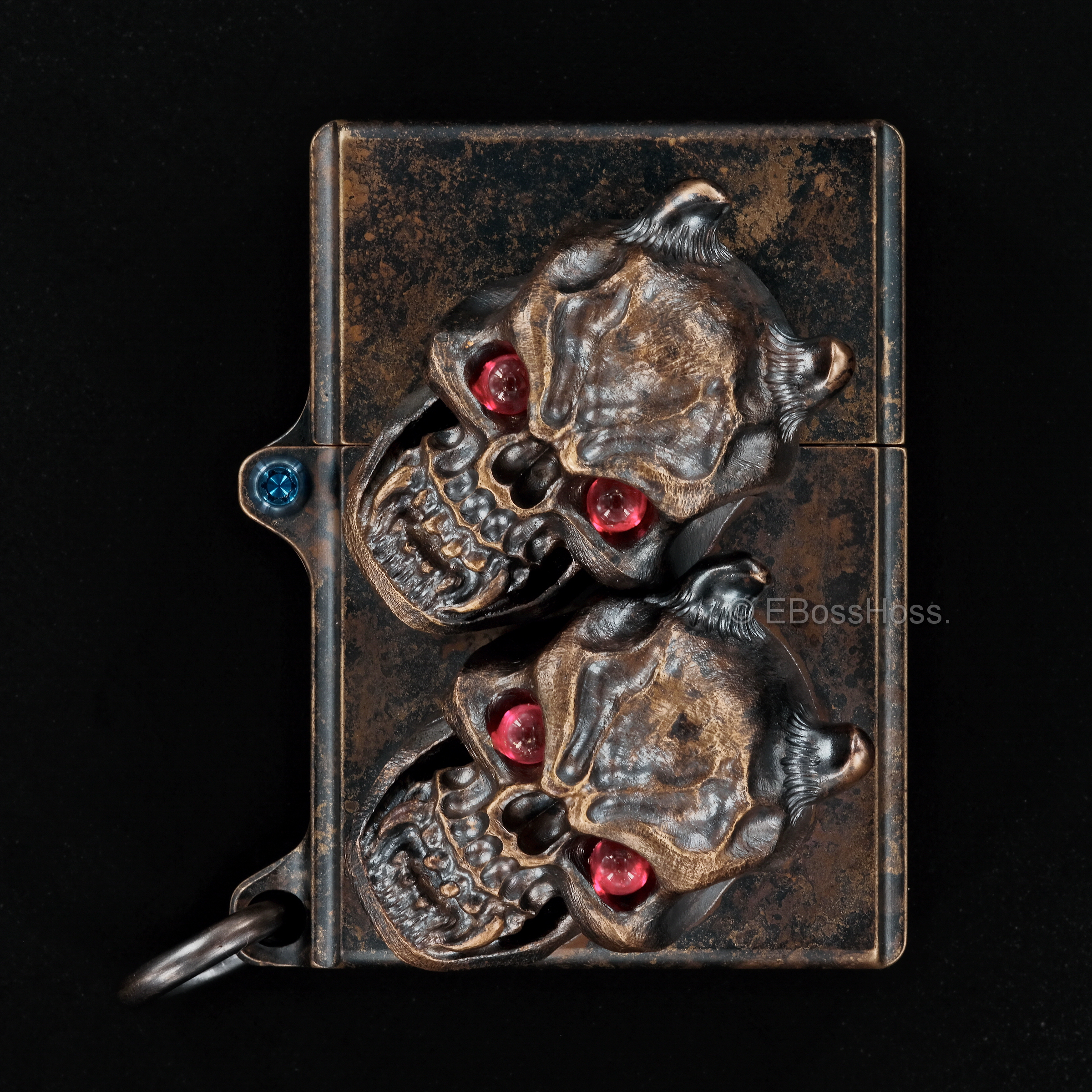 Steel Flame Custom Sledge Lighter - ONE - with XL Haynna Vigilant Skulls -- by Derrick Obatake