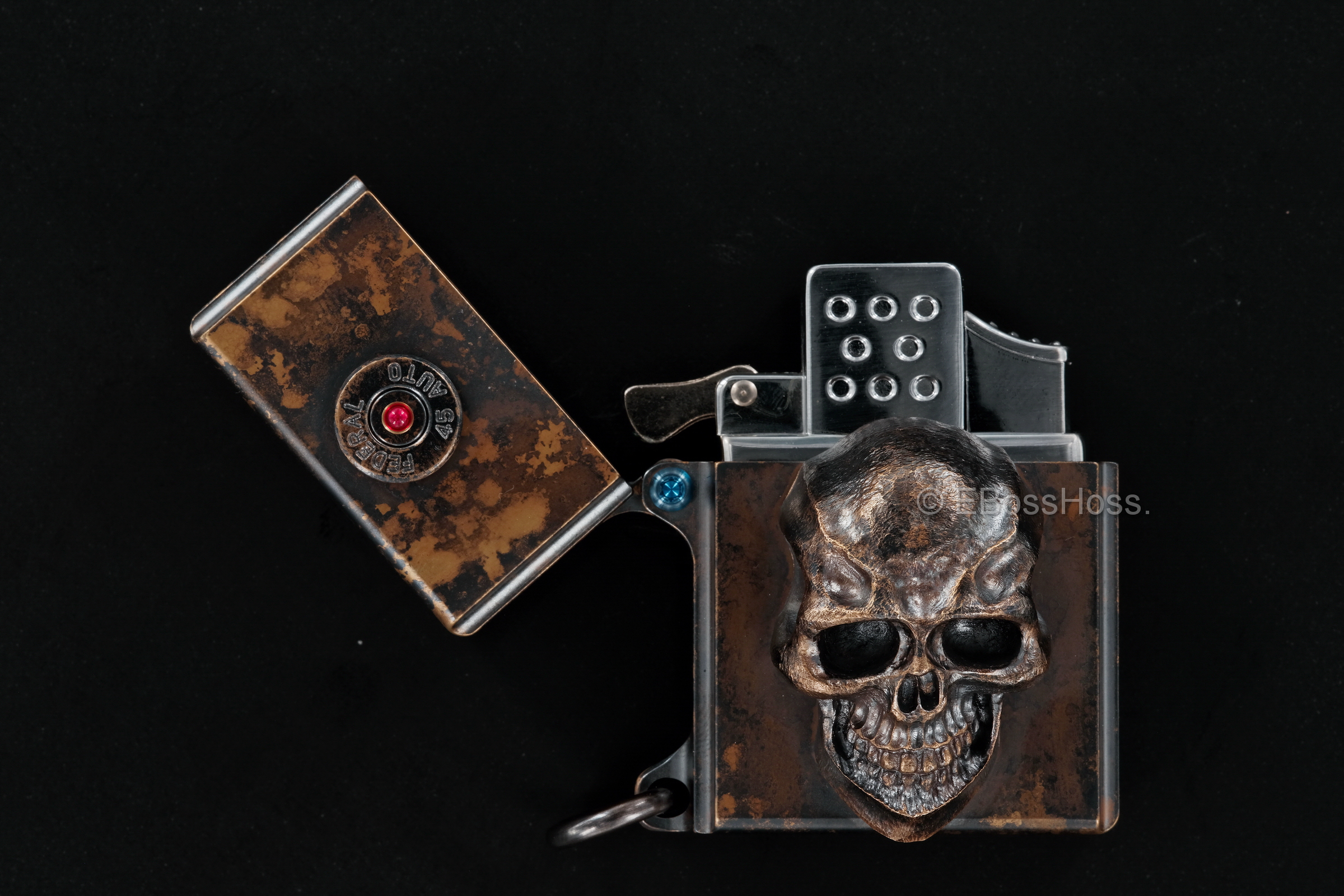 Custom 3D Sledge Lighter - ONE - with XXL Darkness Skull & Vigilant 45 Casing -- by Derrick Obatake