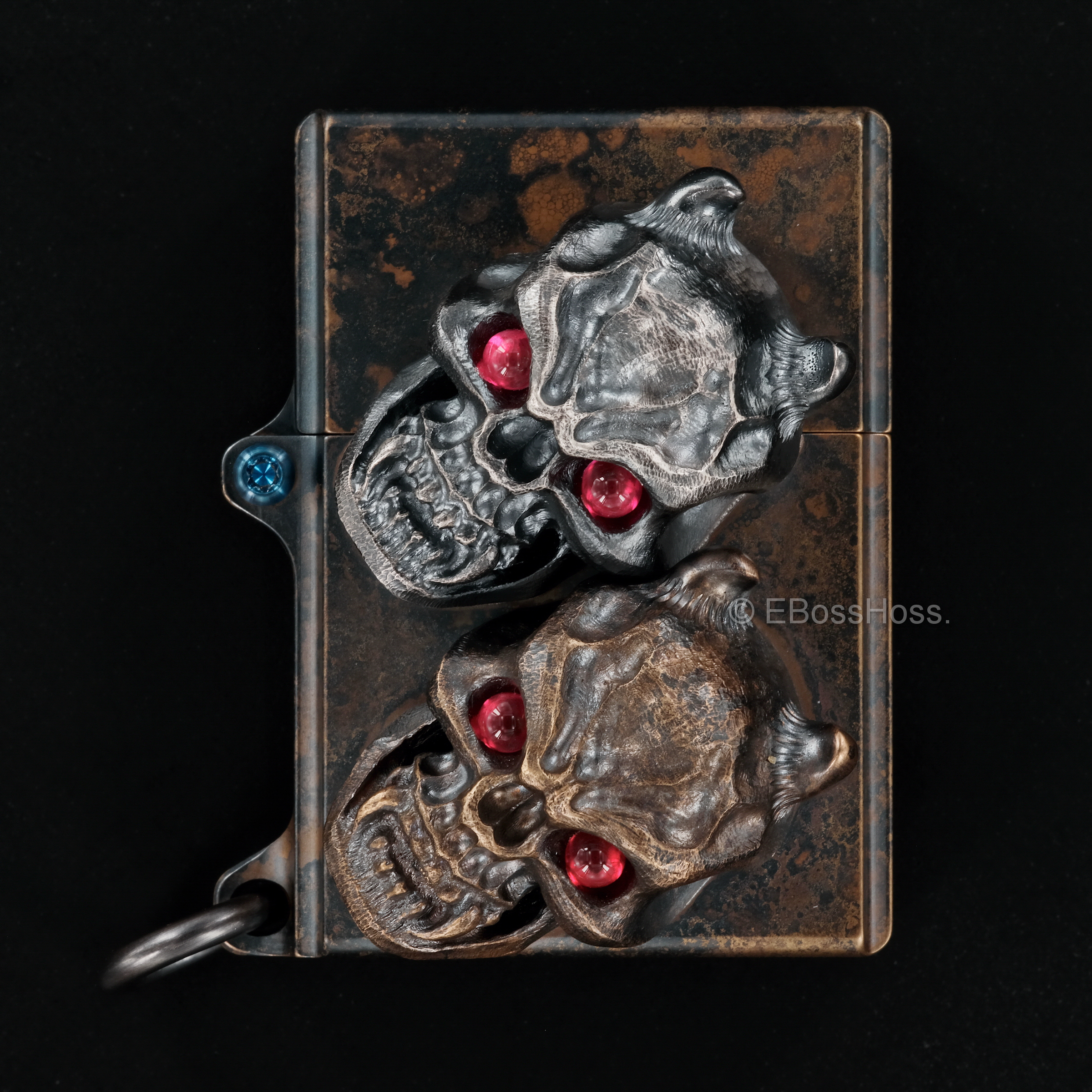 Steel Flame  -ONE- Custom Sledge Lighter - with XL Haynna Vigilant Skulls -- by Derrick Obatake