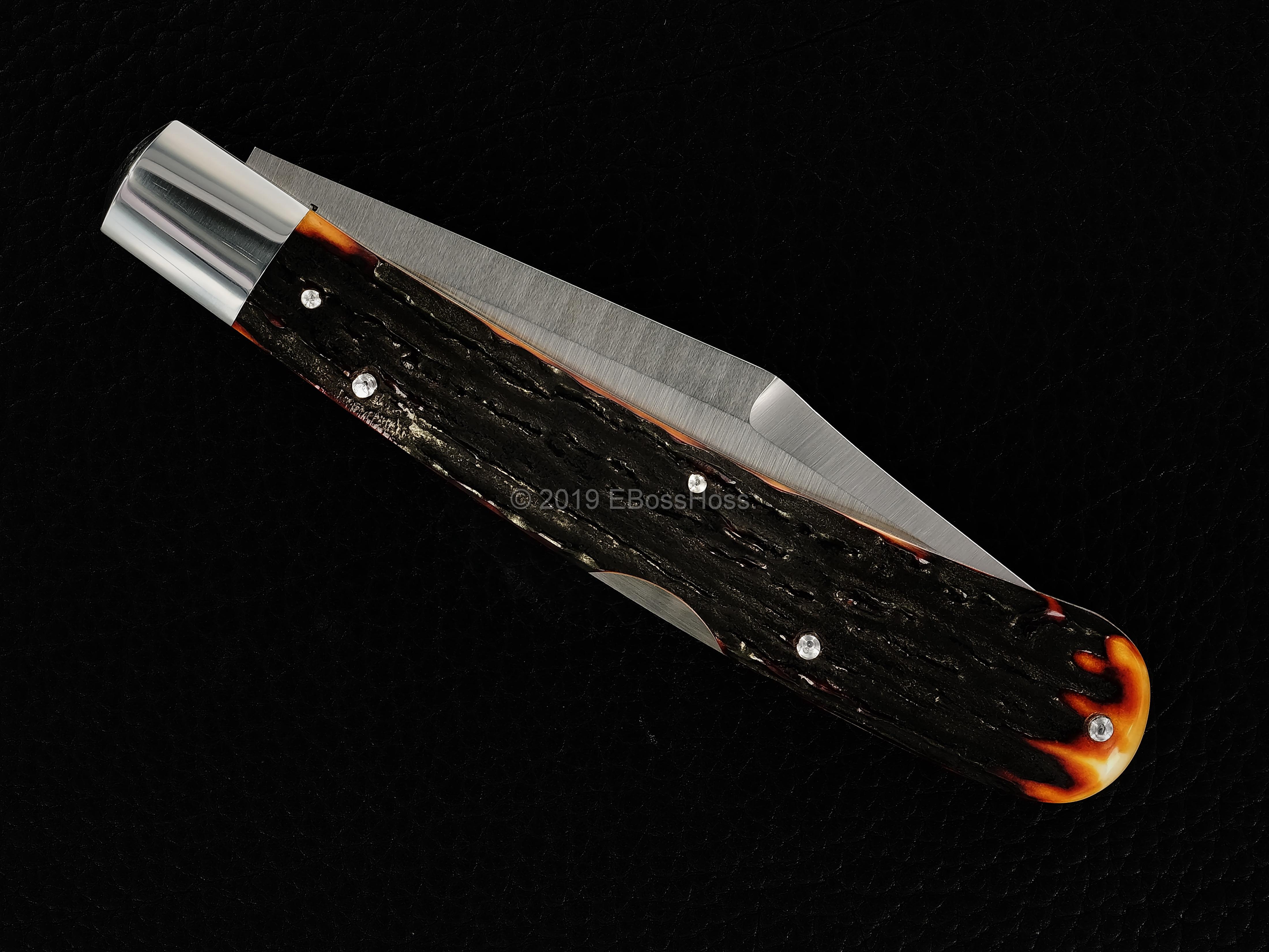 Tony Bose Custom 5 3/8-inch Lockback Stag Banana Knife PROTOTYPE