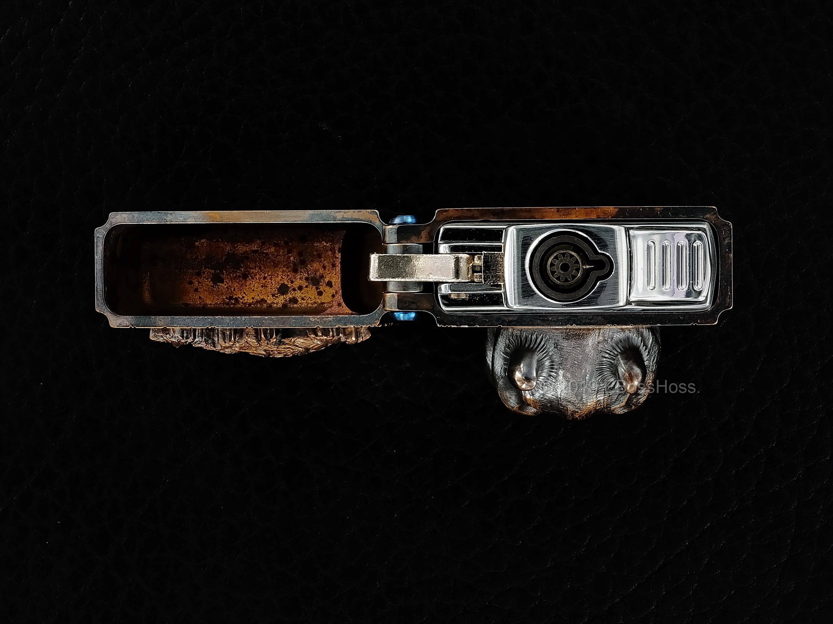 Steel Flame  -ONE- Custom Sledge Lighter with XL Hannya Vigilant Skull & Dragon Menuki - by Derrick Obatake Dragon Menuki