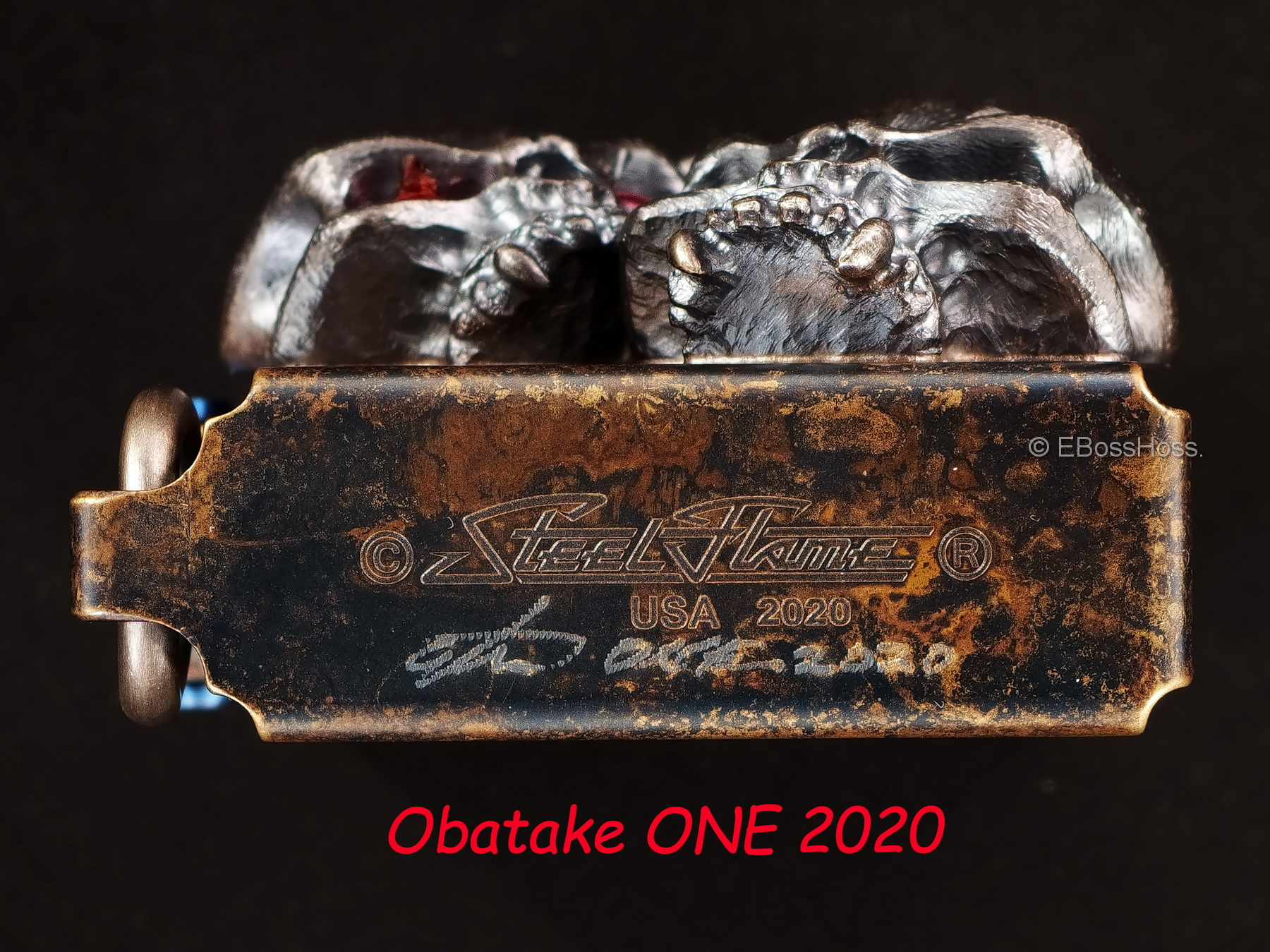 Steel Flame -ONE- Custom Vigilant Skulls Sledge Lighter -- by Derrick Obatake