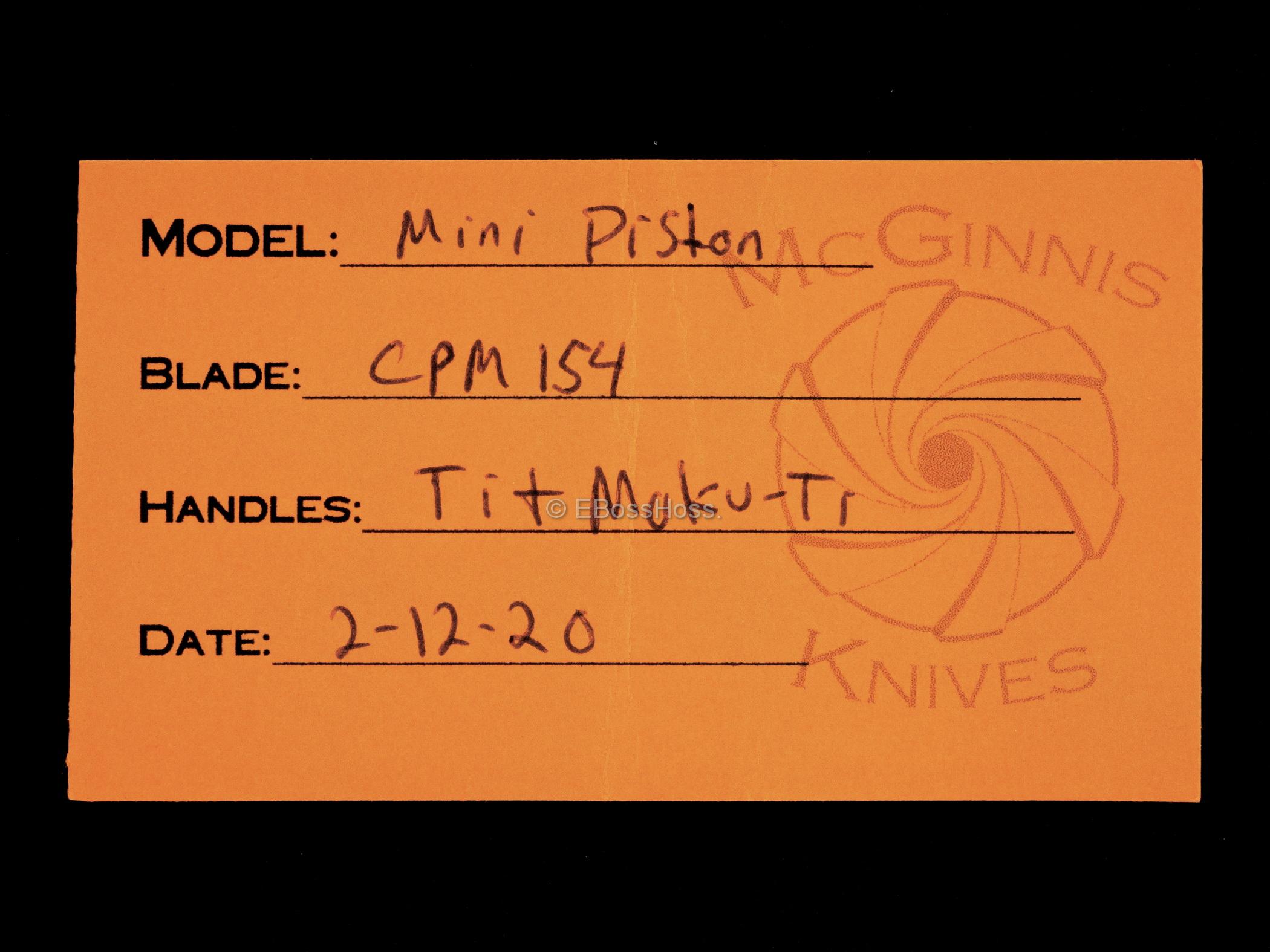 Gerry McGinnis Custom 2020 TKI Moku-Ti Mini Piston Flipper
