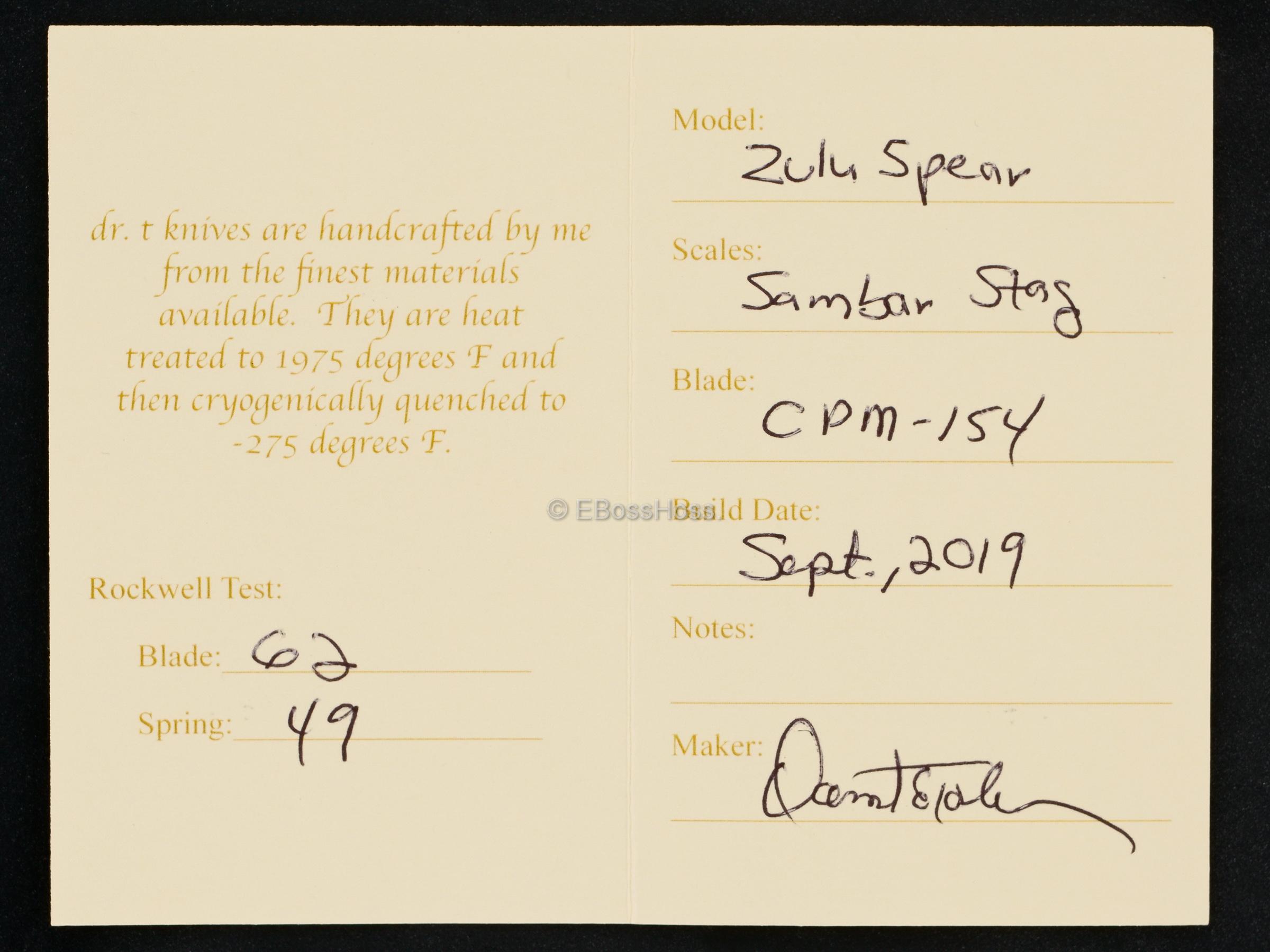 Dr T Knives / David Taber Custom Bolstered Sambar Stag Zulu Spear Slipjoint