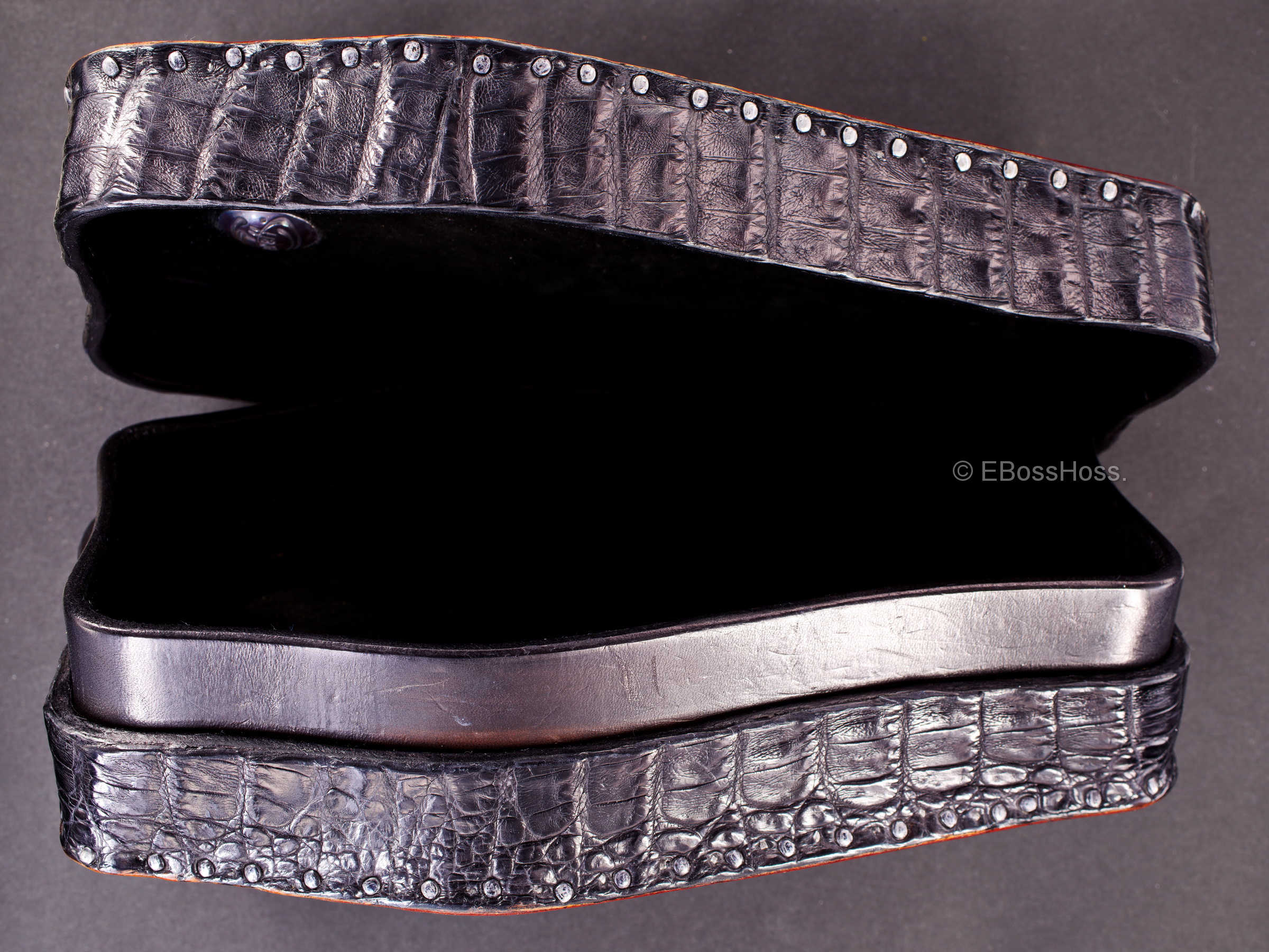 Starlingear Hand-made Alligator Coffin Box with Gator Hinges by Greg Everett, Leathersmith