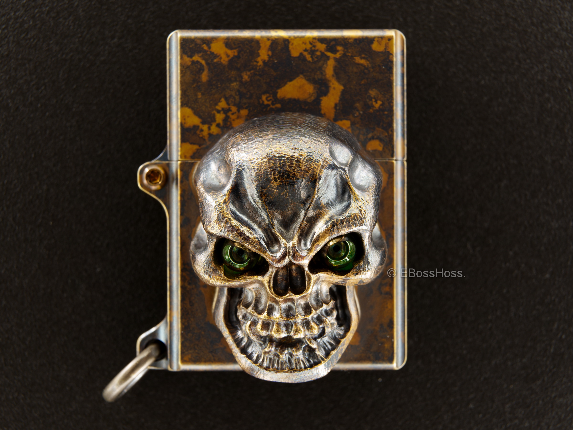 Steel Flame  -ONE- Custom Sledge Lighter - with a Goliath Olive Green Vigilant Hardness -- by Derrick Obatake