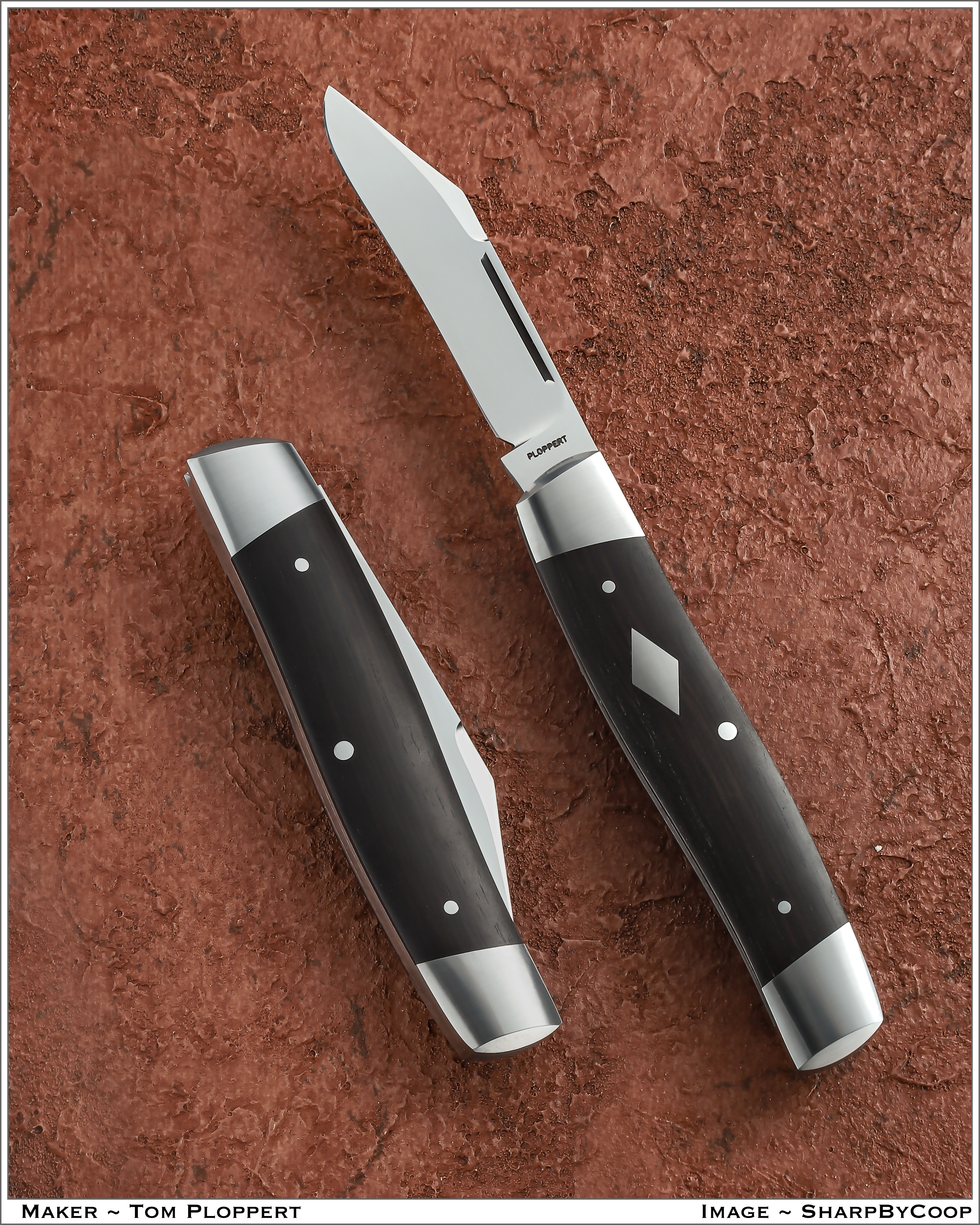 Tom Ploppert Custom Diamond Edge Cattle Knives Set with Display Case