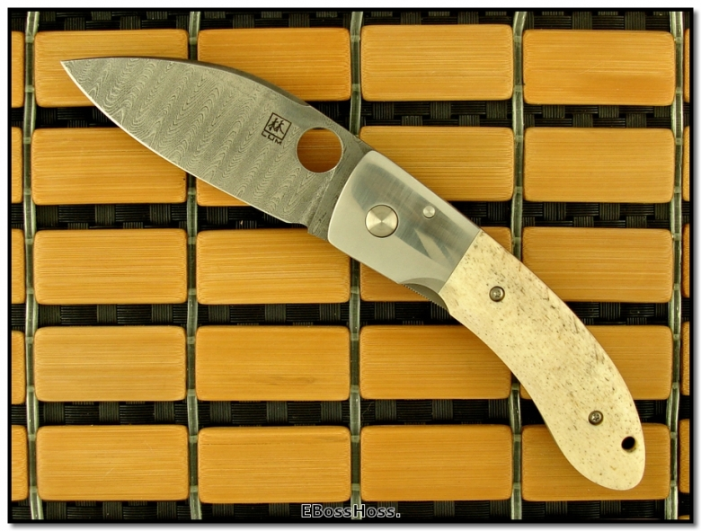 Bob Lum Oosik Bone / Damascus Chinese Folder