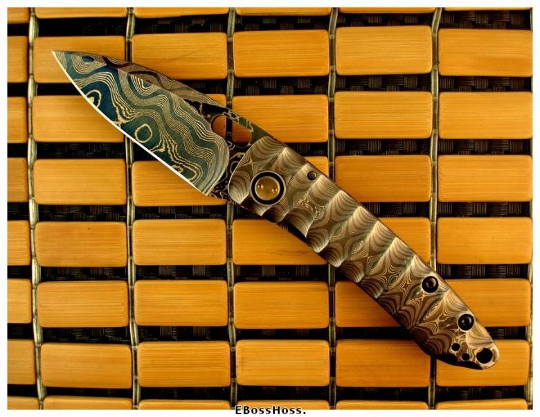 Mick Strider Custom All-Cobalt Damascus Mini-AKAK Framelock Prototype