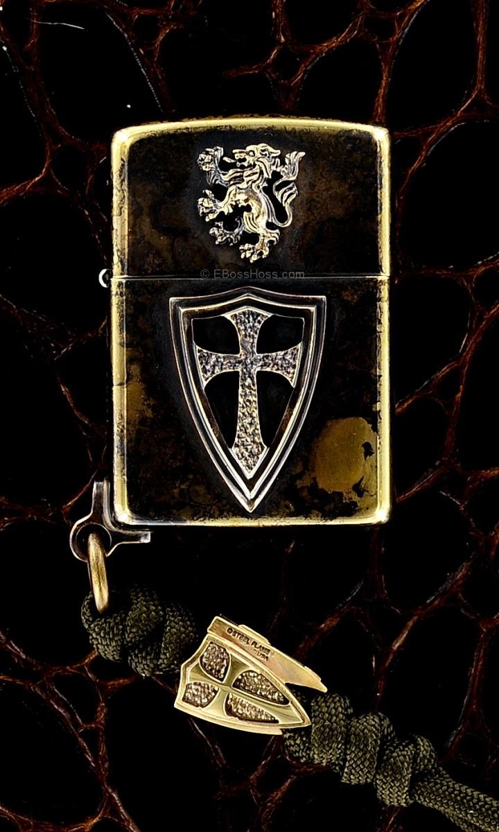 Steel Flame Custom Crusader Lion Cross Zippo w/Cross Bead