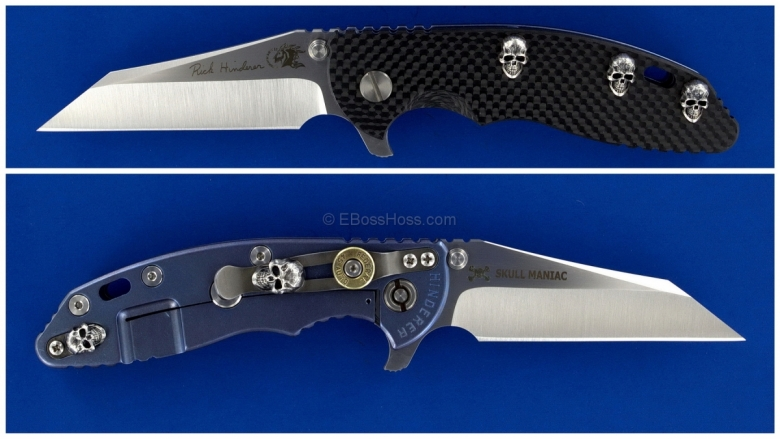 Rick Hinderer Custom XM-18 Skull Maniac Wharncliffe Flipper