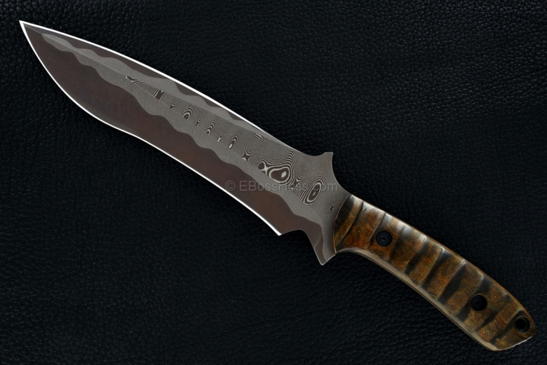 Mick Strider Custom (MSC) Sole-Authored San Mai Brown Damascus Short Sword