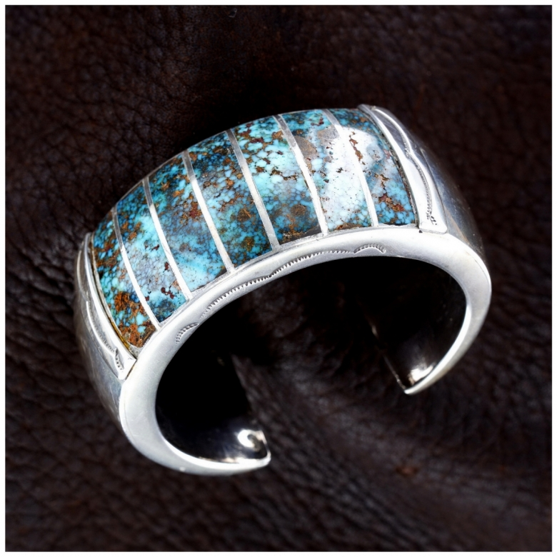Mary Morgan Bisbee-Turquoise Sterling-Silver Woman Navajo Cuff Bracelet