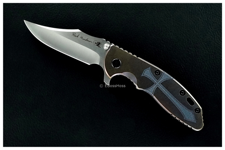 Rick Hinderer / Steel Flame Engraved Custom XM-18 TI-handled Bowie Flipper