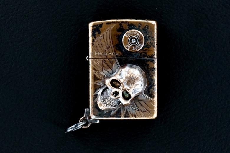 Steel Flame Custom XL Bronze Darkness Zippo Lighter by Derrick Obatake