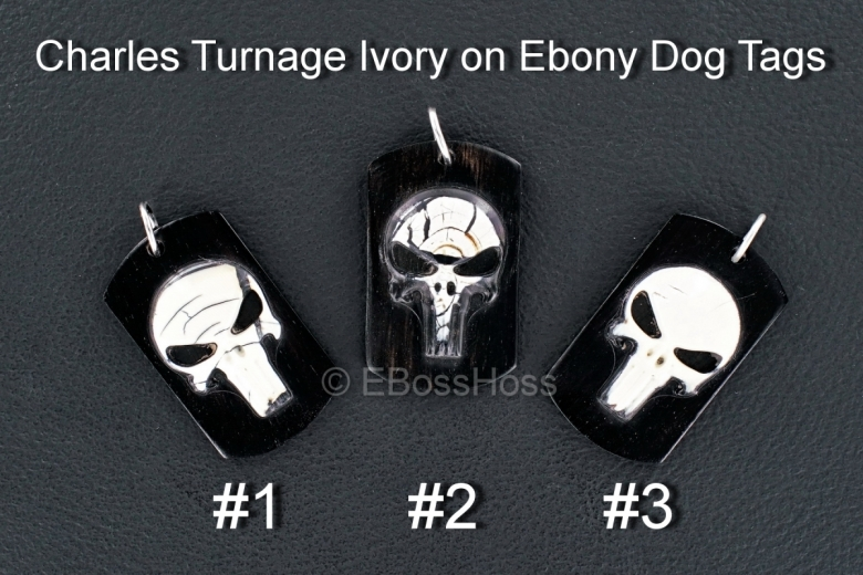 Charles Turnage 3-D Ivory on Ebony Custom Dog Tags