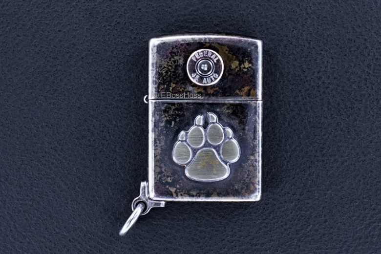 Steel Flame Bronze Dog Paw Federal 45 Zippo Lighter