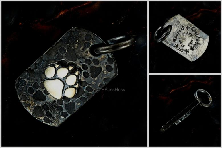Steel Flame Dog-Paw Dog-Tag / Key-Fob