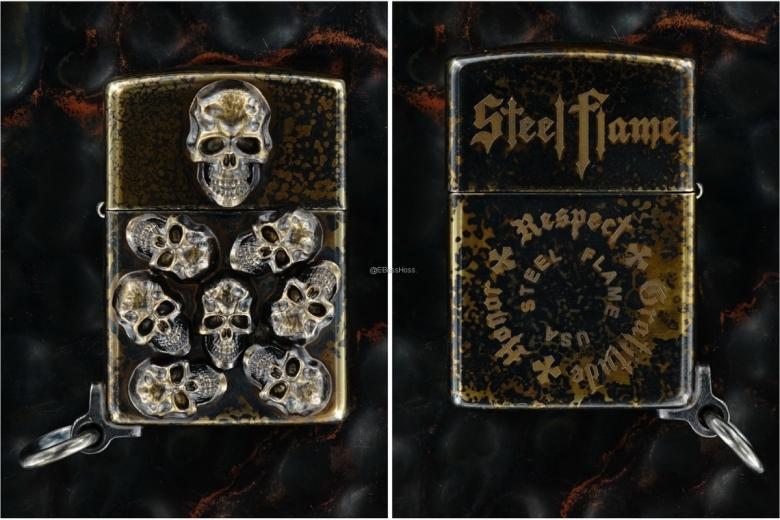 Steel Flame Custom Bronze Pile of Skulls Zippo