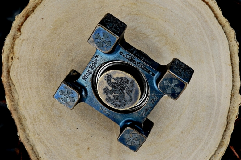 Steel Flame Ring Spin with Laser-etched Chinese Guardian Lion Plug