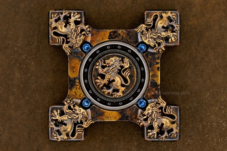 Steel Flame Executive SLEDGE 3-D Bronze Crusader Lions Ring Spin