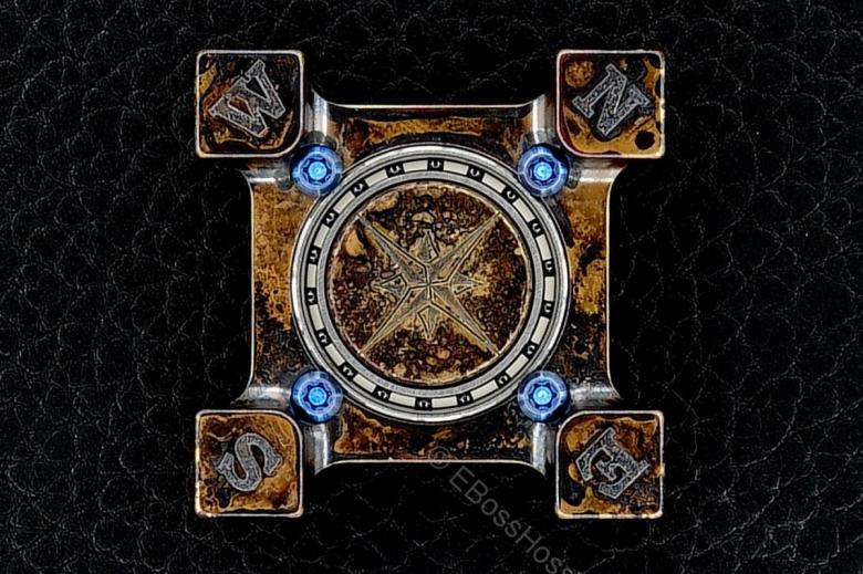 Steel Flame Compass Rose Bronze Ring Spin KillboX with Brass Slug