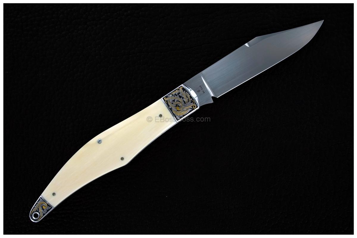 Tony Bose 5 1/4-inch Yukon Knife; exquisitely engraved by Joe Mason