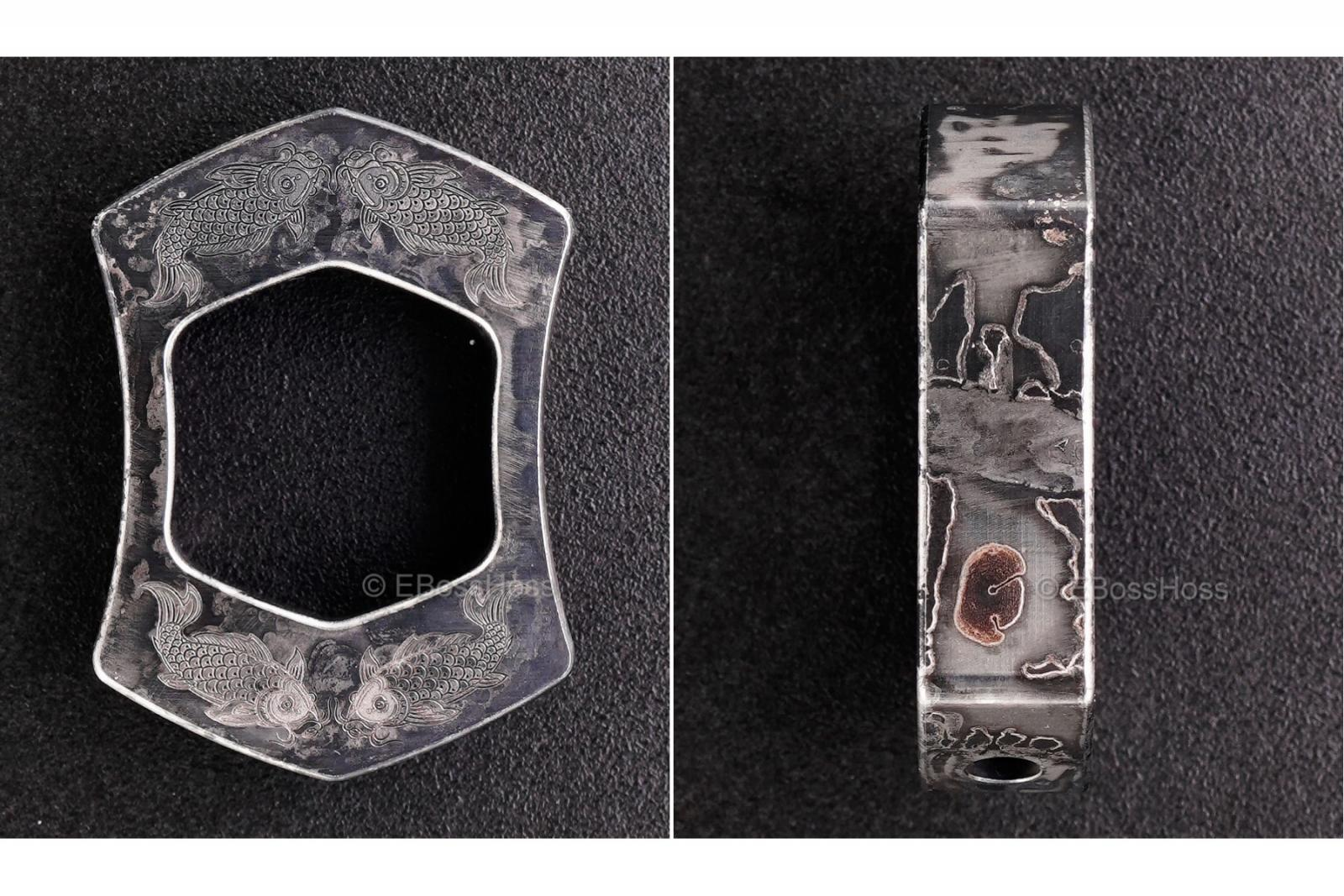 Steel Flame Thick Laser-etched Koi Ring