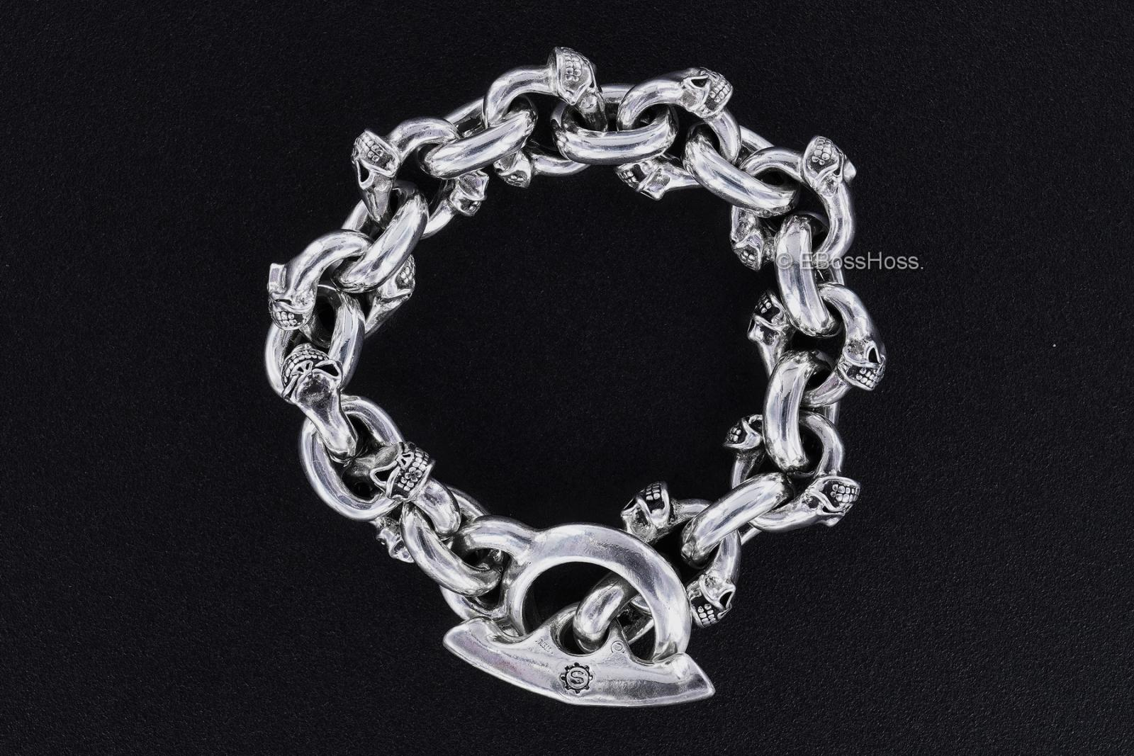 Starlingear Custom Sterling-Silver Twin Skull Bracelet
