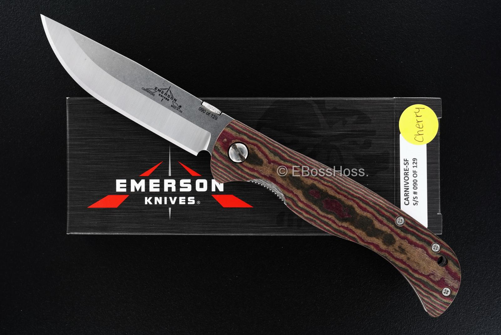 Ernie Emerson EKI Carnivore Folding Steak Knife - Cherry Richlite Handles