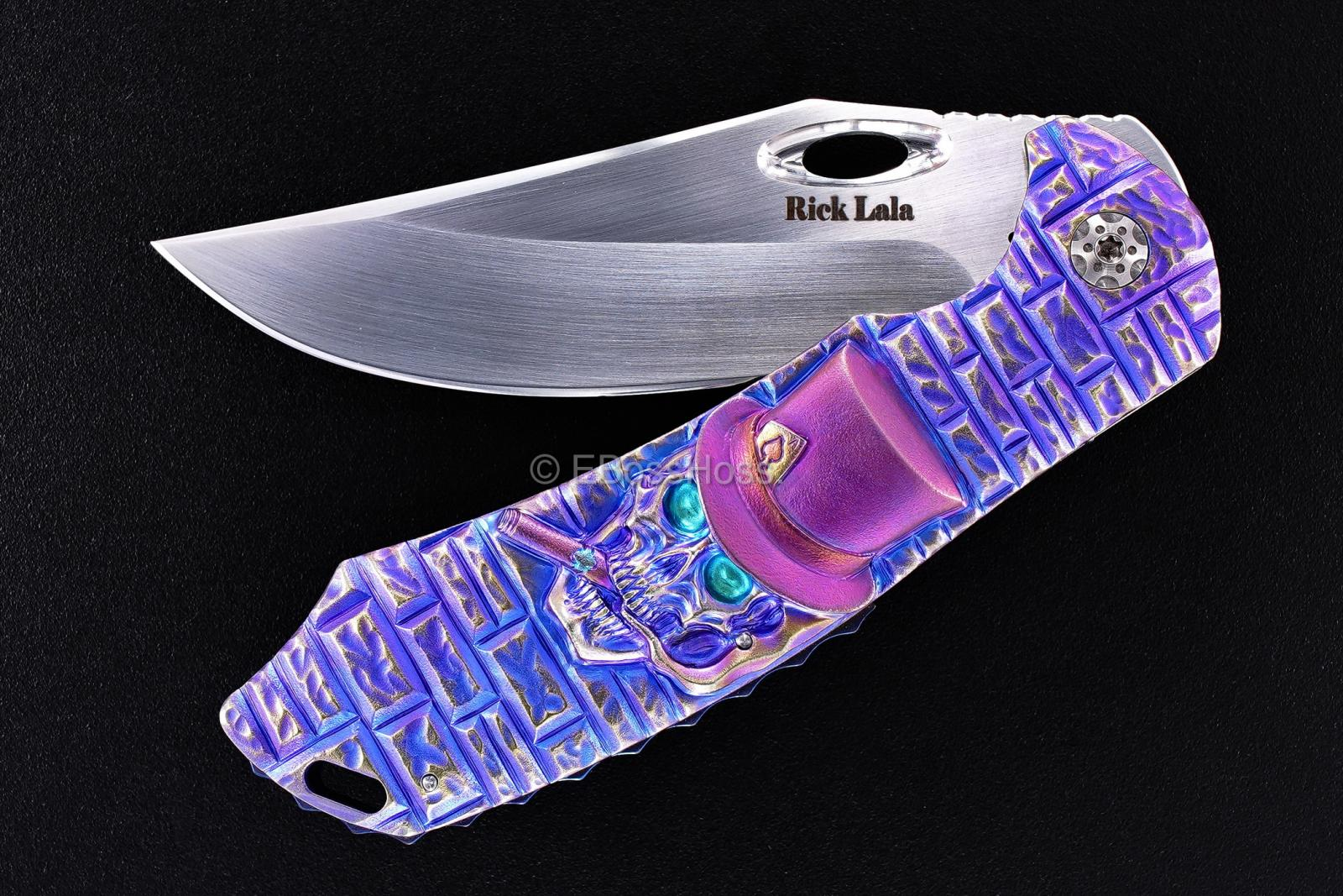 Rick Lala (Korth) Custom Carved Cigar Smoking Skull Phantom XL Flipper