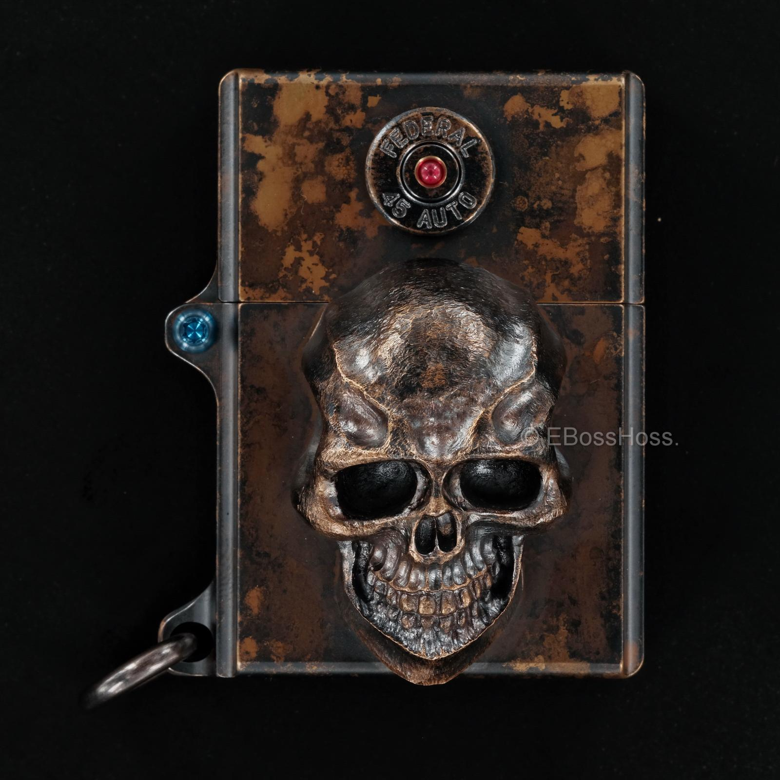 Steel Flame 3D Sledge Lighter - ONE - with XXL Darkness Skull & Vigilant 45 Casing -- by Derrick Obatake