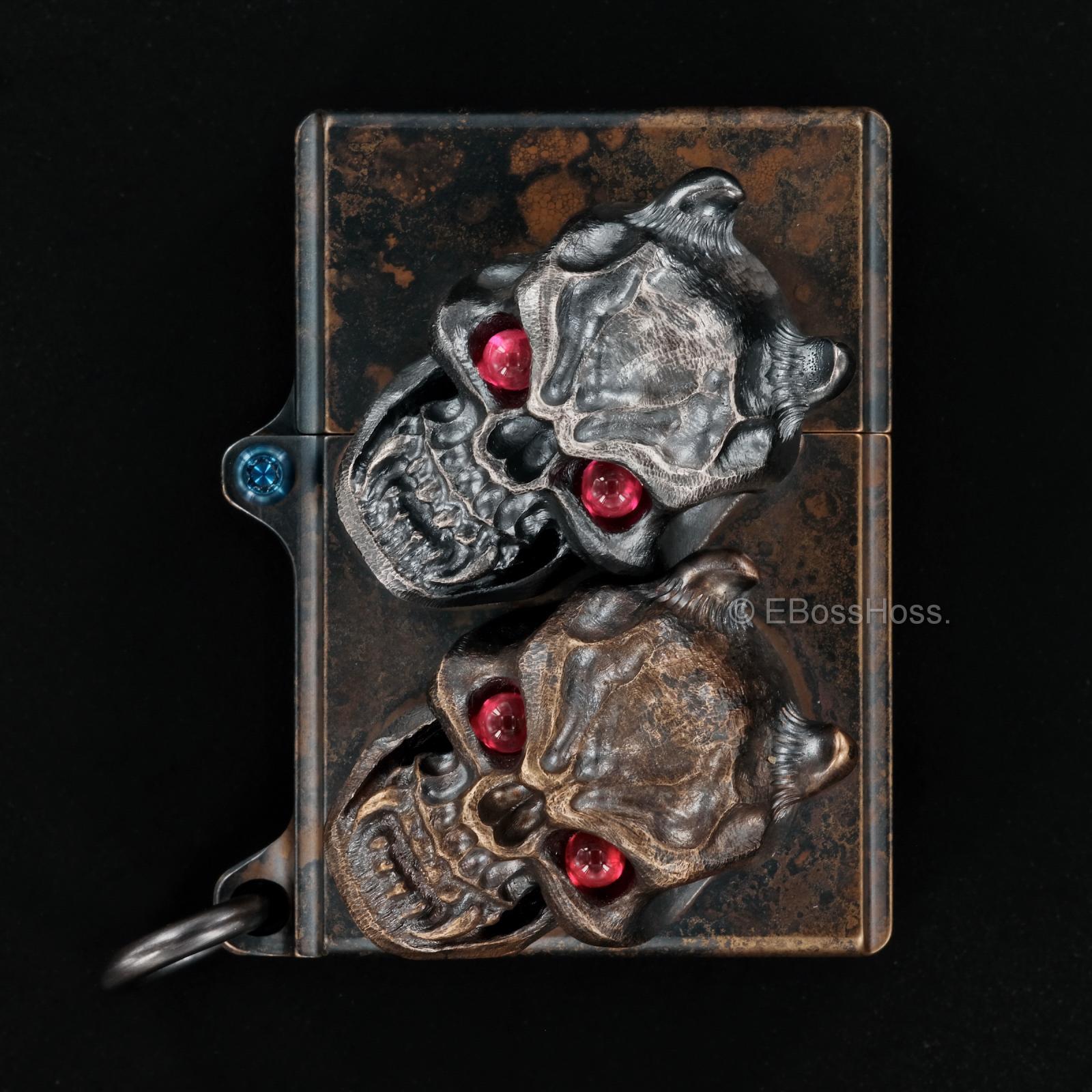Steel Flame  -ONE- Custom Sledge Lighter - with XL Haynna Vigilant Skulls -- by Derrick Obatake