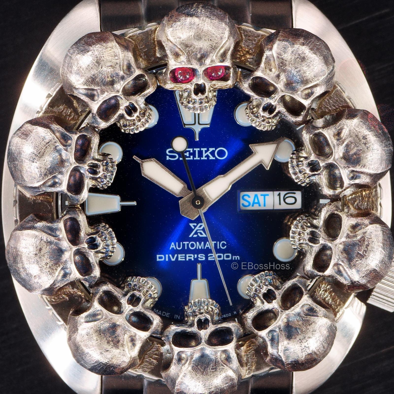 Steel Flame Custom Skulls Vigilant ONE Seiko Prospex Automatic Divers 200m 4R36-04Y0 - by Derrick Obatake