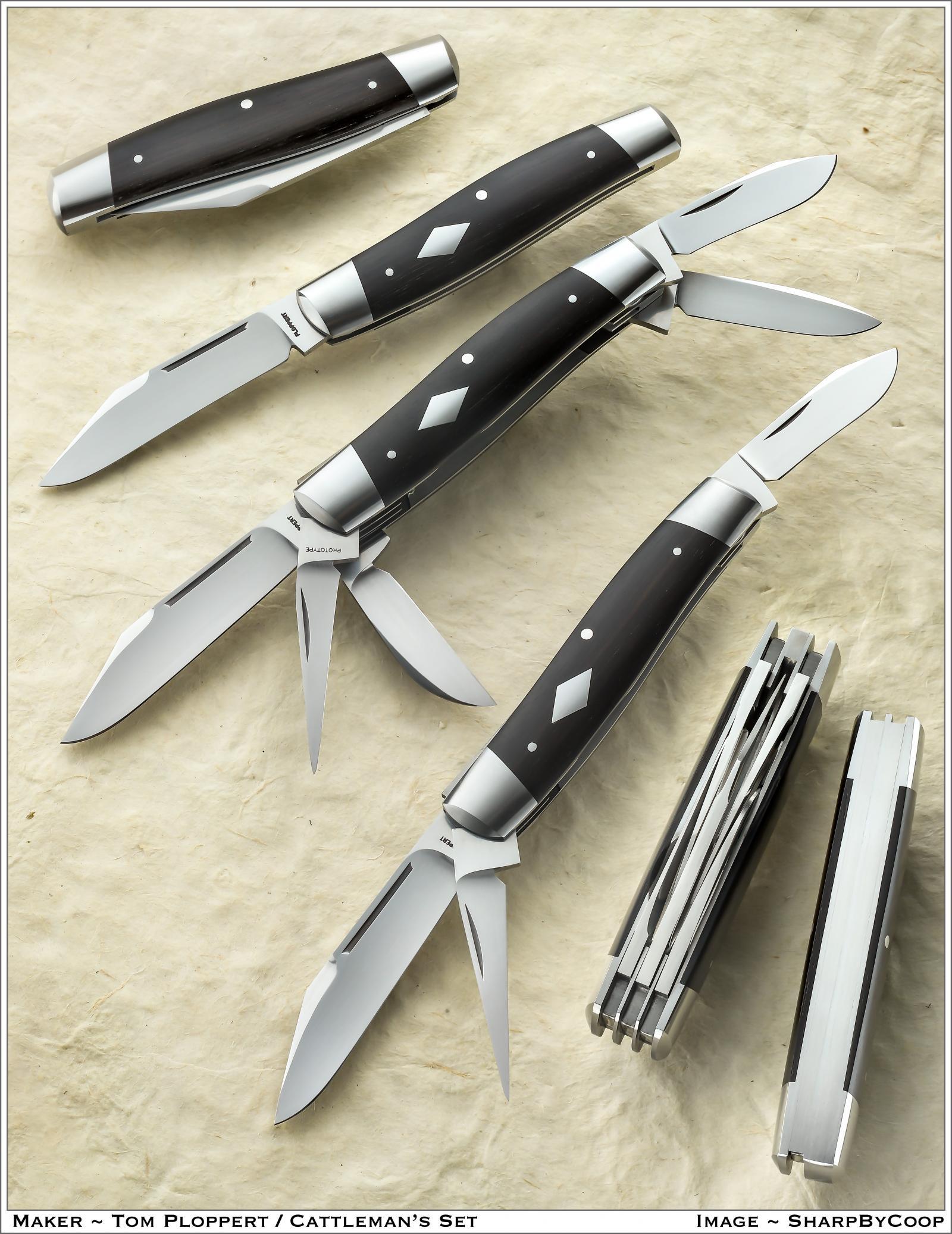 Tom Ploppert Custom Diamond Edge Cattle Knives Set with Display Case